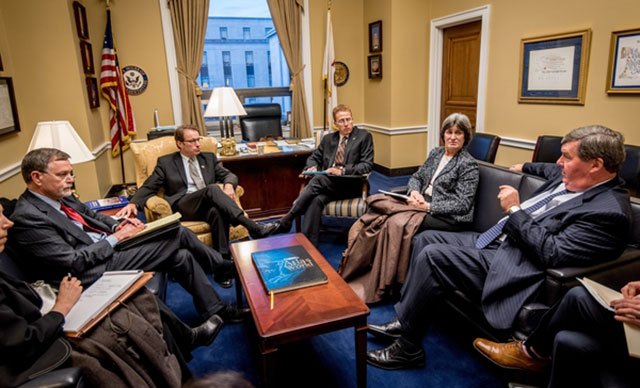 Jeffrey A. Porter, Representative Peter Roskam (R-Ill.), chairman of the House Ways and Means Committee Oversight Subcommittee, Troy K. Lewis, Annette Nellen and Michael P. Dolan