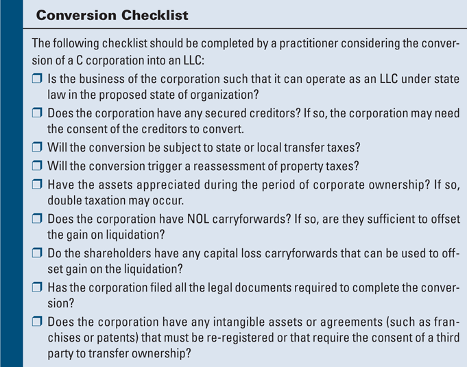 Converting A C Corporation Into An Llc