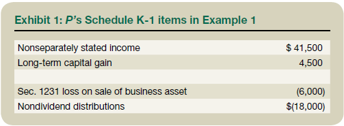 Exhibit 1: P's Schedule K-1 Items in Example 1